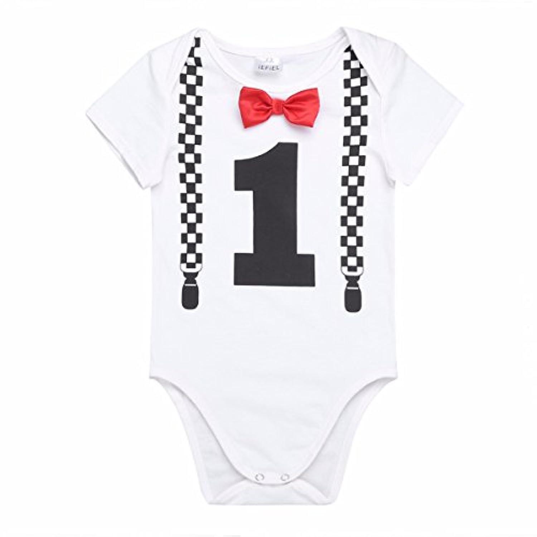 (フィーショー) FEESHOW ベビーロンパース カバーオール 男の子 半袖ボディスーツ 誕生日1ー2歳用