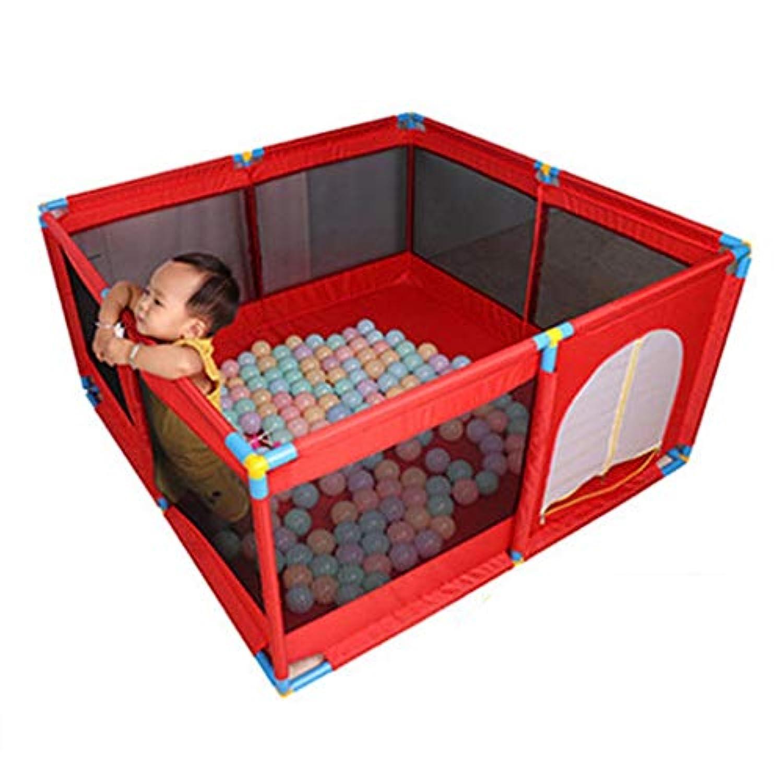 大型ポータブルベビーキッズ、ボールとドア付きの遊び場、プレイヤードFoldable Room Dividerオックスフォードクロス8サイドパネル (色 : Red)