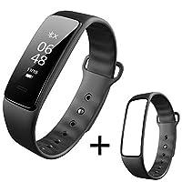 インテリジェントスポーツブレスレット心拍数血圧計ステップ睡眠監視防水男性と女性の多機能歩数計ウォッチ心拍数血圧監視電話SMSスマートリマインダー (Color : Black+black strap)