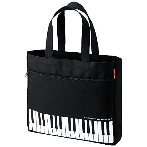 Pianoline ピアノレッスンバッグ マチあり(鍵盤柄)ファスナーポケット付き 音楽トートバッグ