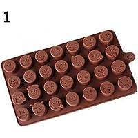 blisscomdep食品グレードシリコンかわいい絵文字Molds (ピンクと緑) のDIY Bakingキャンディ/チョコレート/ケーキ/アイス/Cookie/Soap/Mini pudding-28キャビティ ブラウン 537KE703B628V17CRTJUEG