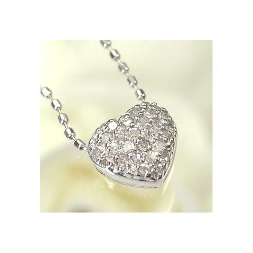 [キュートジュエリー]Cute jewerly ダイヤモンド ペンダント ネックレス K18WG ダイヤモンド0.1ct ハートパヴェペンダント