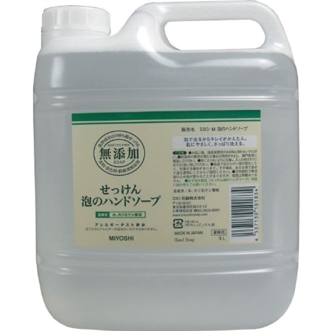 請うもし受信機泡で出るからキレイが簡単!家事の間のサッと洗いも簡単!香料、着色料、防腐剤無添加!(業務用)3L