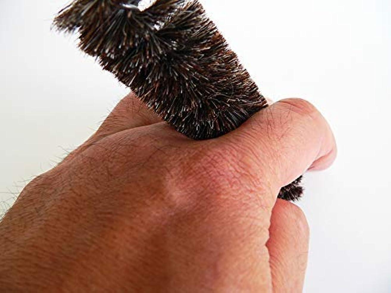 とまり木泥ズボン指の間がキレイに洗える、指間専用ブラシ 黒馬毛?ソフト 4本セット 通称フィンガーブラシ ※水虫防止、介護などに 浅草まーぶる 老舗ブラシ専門店
