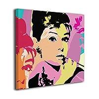 Audrey Hepburn オードリー・ヘップバーン 俳優 フレーム装飾画 背景絵画 背景絵画 壁掛け 家の装飾 アートパネル お部屋 モダンアート 軽くて取り付けやすい おしゃれ プレゼント 額縁なし 正方形