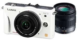Panasonic ミラーレス一眼カメラ GF2 ダブルレンズキット(14mm/F2.5パンケーキレンズ、14-42mm/F3.5-5.6標準ズームレンズ付属) フルハイビジョンムービー一眼 シェルホワイト DMC-GF2 W-W