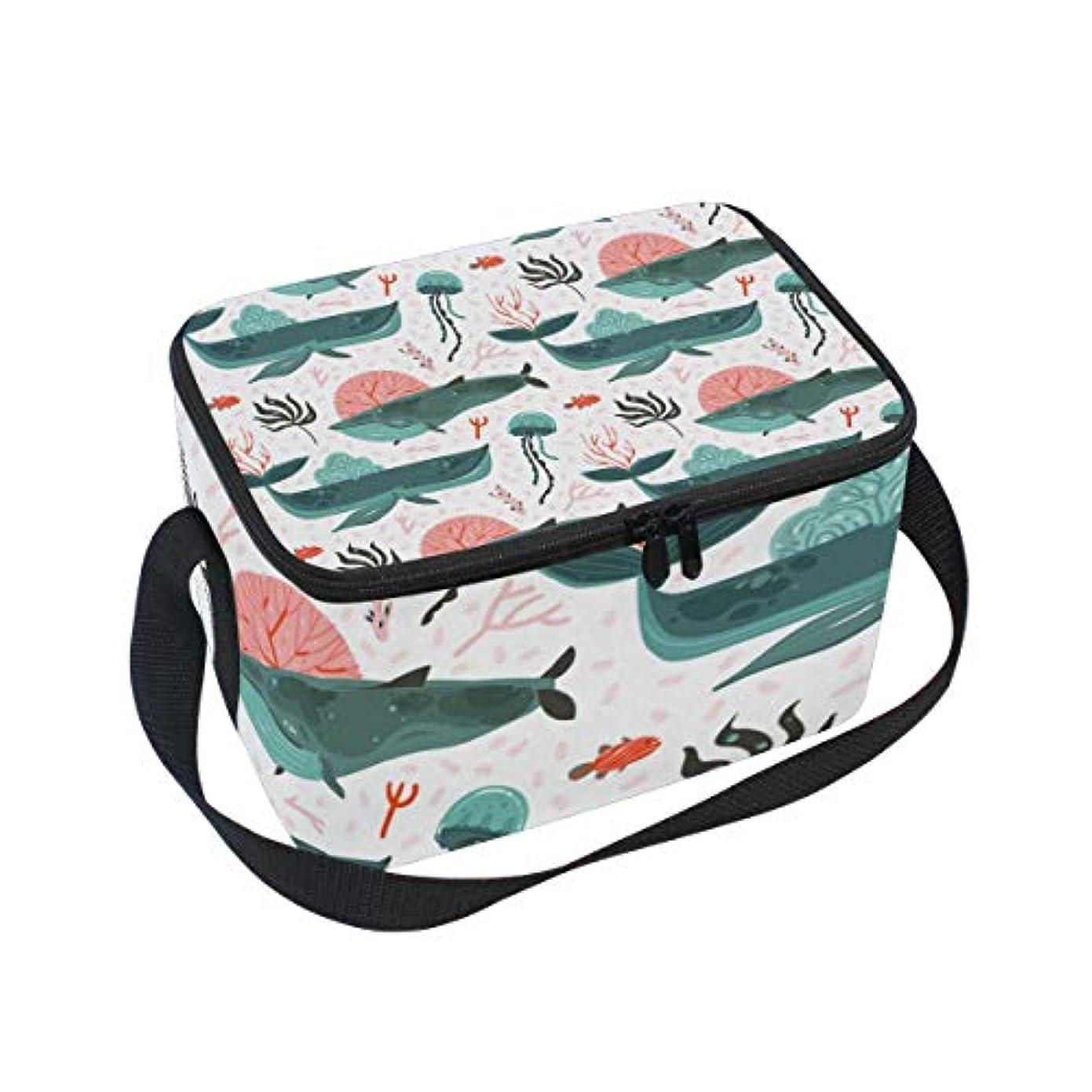 フォーム子ベーシッククーラーバッグ クーラーボックス ソフトクーラ 冷蔵ボックス キャンプ用品 海の生き物柄 クジラとクラゲ 保冷保温 大容量 肩掛け お花見 アウトドア