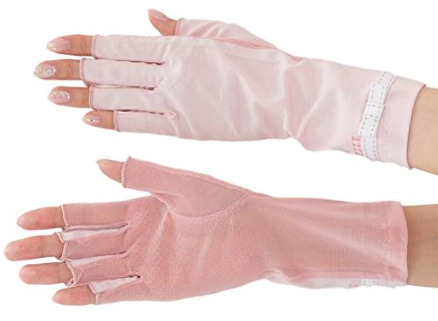 謎めいた収まる通知するエル (ELLE) 接触冷感 スマホ対応 指切り ショート タイプ UV 手袋 メッシュ リボン 滑り止め ケース付 (ピンク)