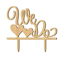 HEALLILY パーソナライズされたウエディングケーキトッパー私たちはケーキピック木材結婚式パーティーケーキ装飾