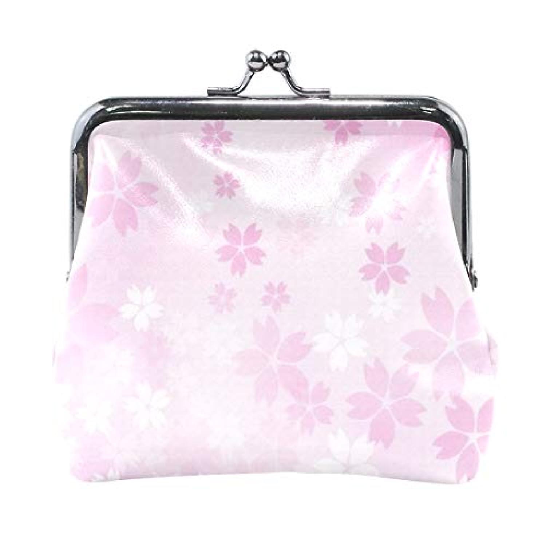 がま口 小銭入れ 財布 かわいい ピンクの桜の花 コインケース レザー製 丸形 軽量 人気 おしゃれ プレゼント ギフト 雑貨