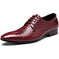 XIUWU Men's Faux Snake Skin Oxford Shoes Lace UP Footwear