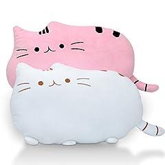 Nelipo フワフワ 柔らか かわいい ネコ クッション 抱き枕 オフィス 勉強 机 インテリア としても (ホワイト+ピンク(2個セット))