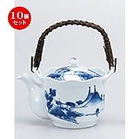 10個セット山水土瓶(セラ茶コシ) [ 750cc ] 【 有田焼土瓶 】 【 料亭 旅館 和食器 飲食店 業務用 】