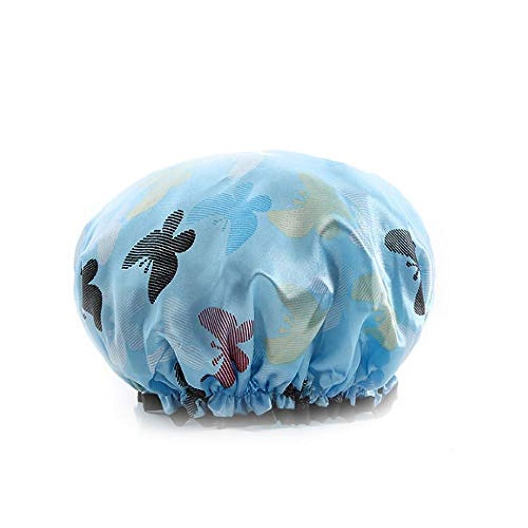 主婦に対応船外YUXUANCIXIU シャワーキャップ厚い布二重層女性大人防水入浴キャップシャンプーキャップキッチン防煙シャワーキャップ 家庭用品 (Color : 1)