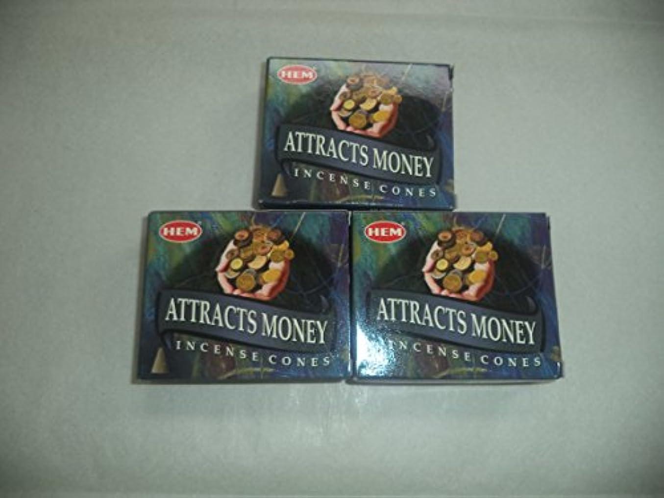 もジョージバーナード請願者Hem Attracts Money Incense Cones、3パックの10 Cones = 30 Cones