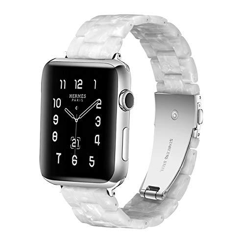 Sundaree® Compatible with Apple Watch バンド 38&40mm、ファッションな樹脂製ブレスレット、時計バンドfor iWatchバンド 、スポーツ&エディション バンド、メタルステンレススチールバックル for アップルウォッチ シリーズ4/3/2/1 (パール真珠のワイト38mm)