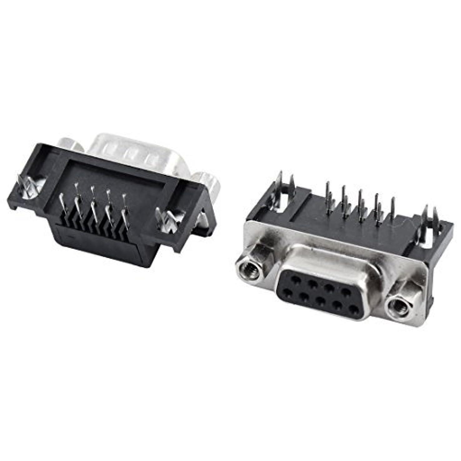 労働アラブサラボポータブルDealMux DB9 9ピンオス+メスライトアングルD-SUB PCB実装コネクタ2個
