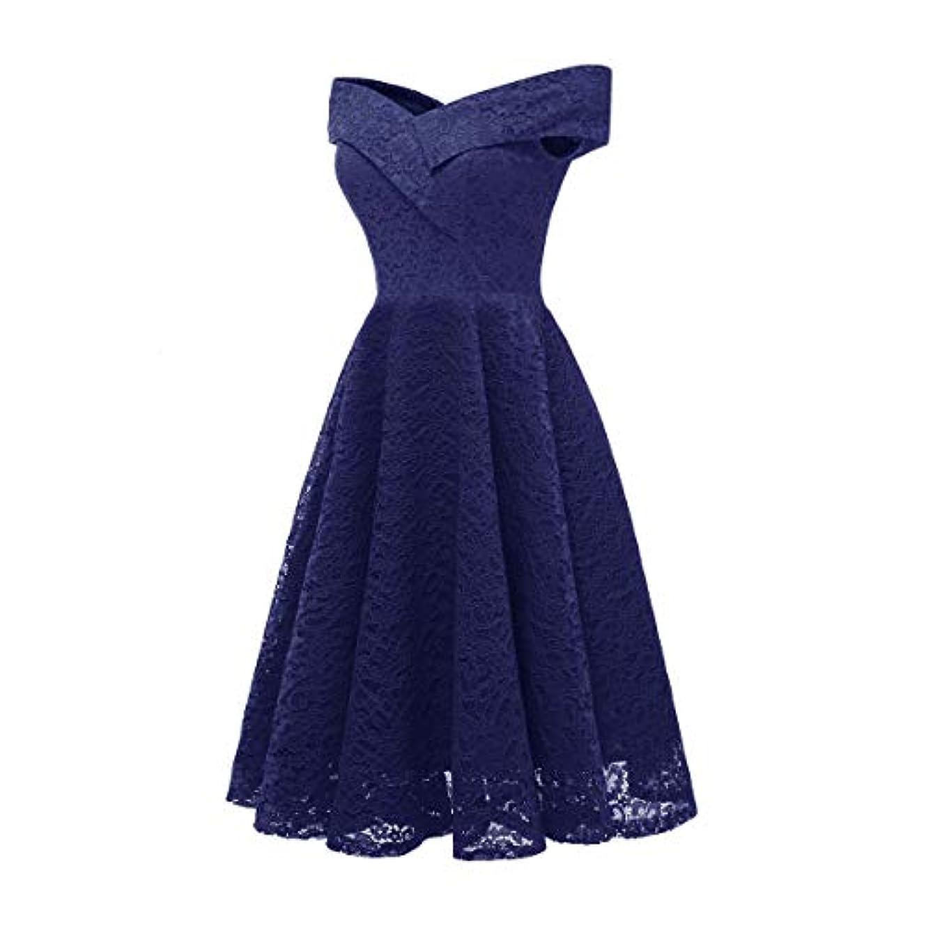探検定常真似るBlackfell 女性のドレス女性のVネックの襟のレースのスプライスノースリーブ