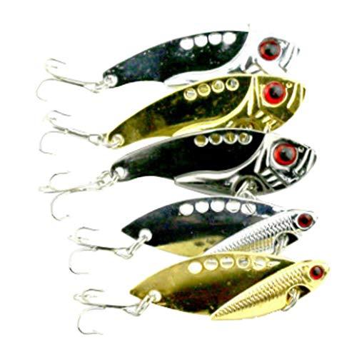 【ノーブランド品】5個入りスプーン釣りハードルアーベースクランクベイト振動釣りタックルツール