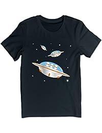 FreedomHip メンズ半袖tシャツUFO 来襲 宇宙艦隊 宇宙人 グレイ SF系 オリジナルプリント カットソー