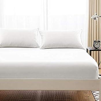 ボックスシーツ 毛玉なし 綿100% シーツ マチ部分約30cm ベッドシーツ マットレスカバー ベッドカバー (シングル・100X200cm, ホワイト)