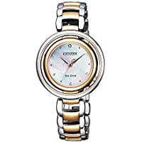Citizen Women's Solar Powered Wrist watch, stainless steel Bracelet analog Display and Stainless Steel Strap, EM0666-89D