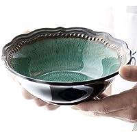 セラミックフルーツサラダスープラーメンラーメンクリエイティブステーキパスタディーププレートレトロミックスサービングボウルセットオーブン電子レンジセーフグリーン (サイズ : Salad bowl)