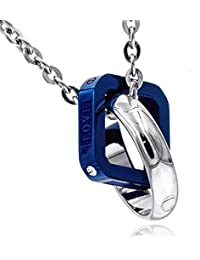 ネックレス メンズ サージカルステンレス クリスタル 50cm チェーン Napist(ナピスト) リング スクエア ブルー