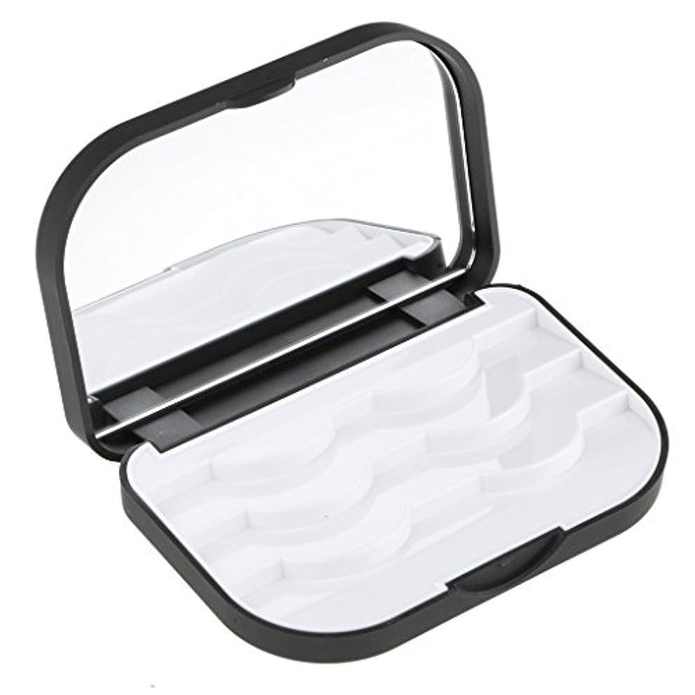 藤色食事散髪Baosity まつげ収納ケース 付けまつげ 化粧ミラー 便利 メイクアップ 2色選べる - ブラック
