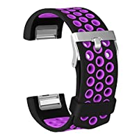 ESeekGo Compatible with Fitbit Charge 2 Bands, Soft Silicone Sport Band Compatible with Fitbit Charge 2 Breathable Replacement Fitness Accessory Wristband (No Tracker)