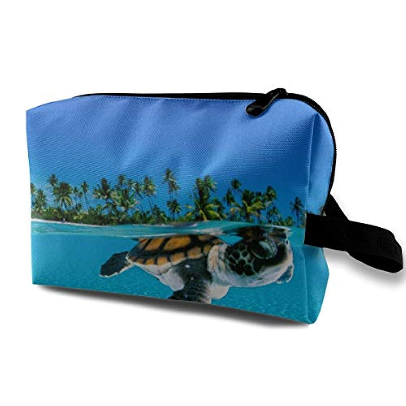 長くする熱帯のお祝いMEClOUD 化粧ポーチ亀 メイクポーチ コスメバッグ 収納 雑貨大容量 小物入れ 旅行用