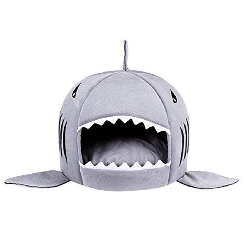 ペットハウス 猫ベッド 犬ハウス 鮫型 ドーム型 室内用 犬猫 ソファ サメ型 猫ソファー マット付...