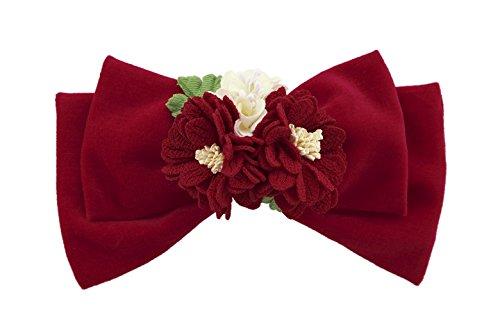 髪飾り 赤 レッド 白 花束 リボン ベルベット ビロード ...