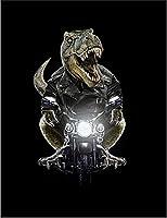 【FOX REPUBLIC】【ティラノザウルス バイク ライダースジャケット 恐竜】 黒光沢紙(フレーム無し)A2サイズ