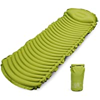 targetevo Inflatable Sleeping Pad with Attached枕超軽量Tpuコンパクトテントマットエアマットレスキャンプハイキングバックパッキング用防水