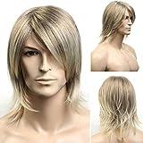 ファッション男性かつら耐熱合成ブラジルの魅力的なゴールドの髪フルショートボブかつらゴールド42 cm