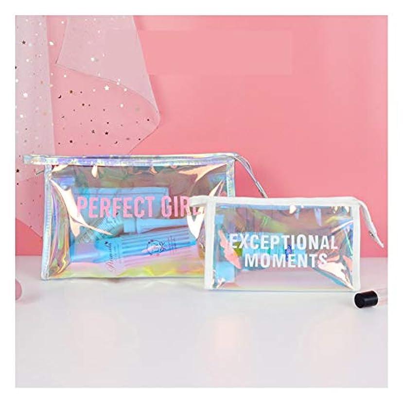 2ピースレーザーカラフルなクリア化粧バッグ、ポータブルpvcジッパー付き透明トラベルバッグ防水トイレタリーバッグ、ビーチケア製品または化粧品,B