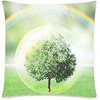 可愛い 子供 木と虹のエコロジーイメージ 座布団 45cm×45cm