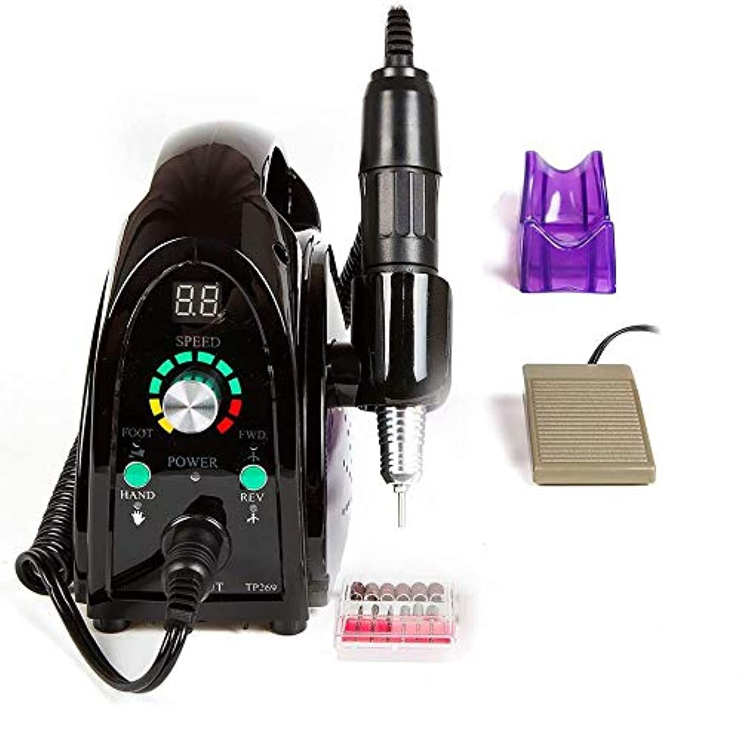 緩やかな温かいレッスンプロフェッショナルネイルドリルキット、6つの研削ヘッドと釘グラインダーマニキュアネイルアートツールのための携帯用電気ネイルドリル35000RPM電気ファイル