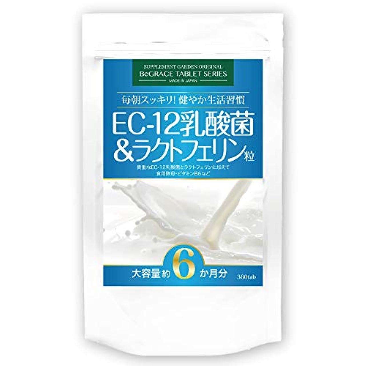 設置鉄道誤解させるEC-12乳酸菌&ラクトフェリン粒 大容量約6ヶ月分/360粒(EC-12乳酸菌、ラクトフェリン、ビール酵母、ホエイプロテイン、ビタミンB6)