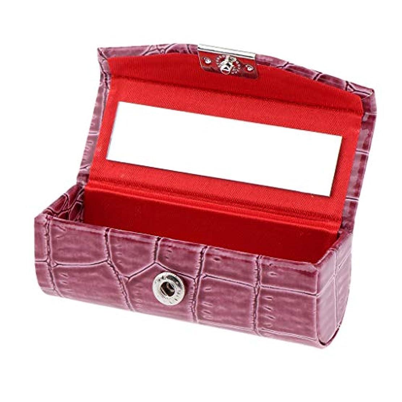くるみ詩傷つきやすいF Fityle リップスティックケース 口紅 ホルダー レザー 財布 ミラー 収納ボックス 多色選べ - カメオブラウン