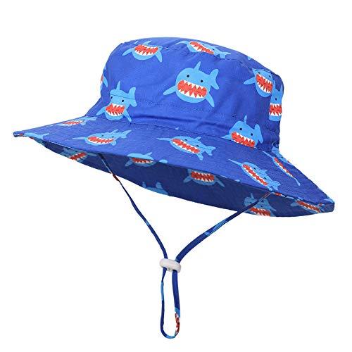 (フレミ) Flammi ベビー・キッズハット 日よけ帽子 UPF50+ サイズ調節可 男の子・女の子 日焼け止め つば広 チン・ストラップ付き 綿 (ブルー・サメ, 52cm: 1.5-3歳)