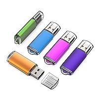 KEXIN USBメモリ 2GB ースティック USB 2.0 キャップ式 フラッシュドライブ カラフル(青、パープル、パウダー、グリーン、オレンジ)