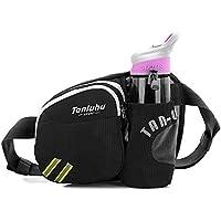 Water Repellent Bum Bag Waist Fanny Pack with Bottle Holder Black