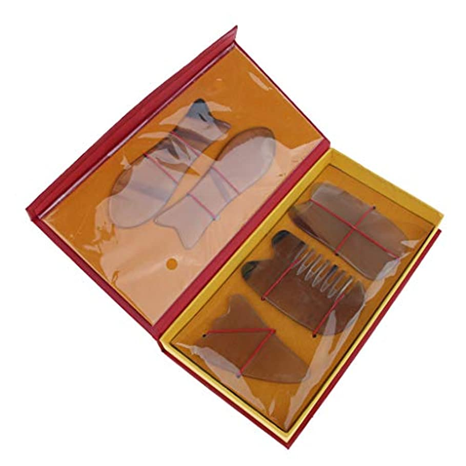 鉱夫彼らのかる5本セット マッサージボード スクレイピングマッサージ スクレーパーツール 2色選べ - 黄