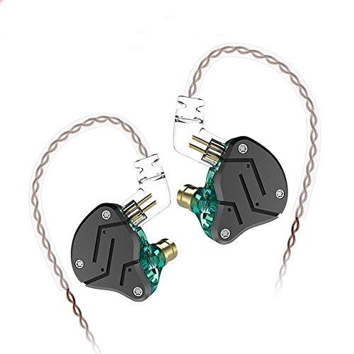 KZ ZSN 重低音 イヤホン 1BA+1DDを搭載 ハイブリッドイヤホン カナル型 高遮音性 イヤホン 高音質 中華イヤホン 2pin リケーブル 可能 ジュラルミンフェイスプレート搭載 3.5mm プラグ (黒‐緑・マイクなし)