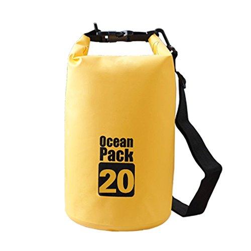 Keithrun 防水ドライバッグ3セット、 登山、ダイビングバッグ、キャンプ、釣り、海水浴、肩掛けや手提げ 収納袋 5L 10L 20L (黄色, 10L)
