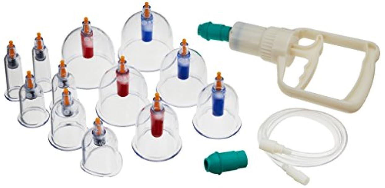 準拠雰囲気証明カッピング cupping 吸い玉カップ 脂肪吸引 康祝 KANGZHU 6種 12個セット つぼ指圧棒付 自宅エステ アンチエイジングに KC12