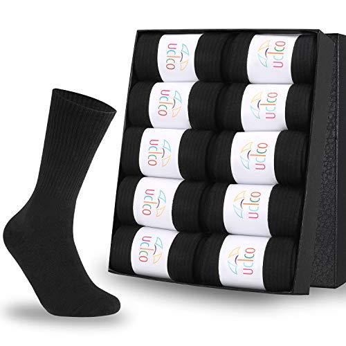 ucico ソックス ビジネスソックス 靴下 紳士 消臭防臭 メンズ 抗菌 10足セット 通気性抜群 24-27cm 黒 (s)