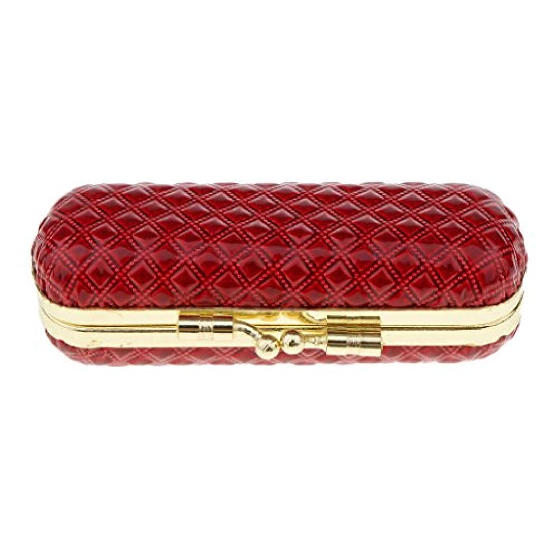 結論ビーズドリンクBaosity 化粧ポーチ 口紅ホルダー リップスティック リップグロス 収納ケース ミラー付き 可愛い 小物収納 携帯用 6タイプ - 赤
